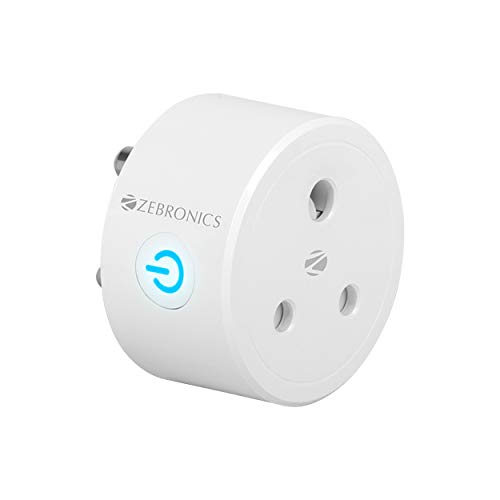 Zebronics ZEB-SP110, Smart Wi-Fi Plug Compatible with Google Assistant & Alexa, Supports Upto 10A and Comes with a Dedicated APP That Features Scheduled Control.