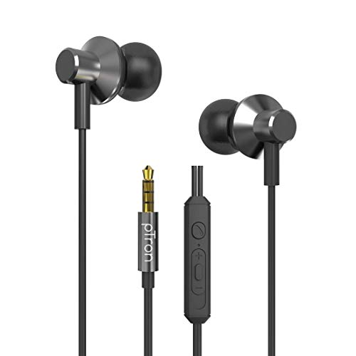 pTron Pride Lite HBE (High Bass Earphones) in-Ear Wired Headphones with in-line Mic, 10mm Powerful Driver for Stereo Audio, Noise Cancelling Headset with 1.2m Tangle-Free Cable & 3.5mm Aux - (Gray)