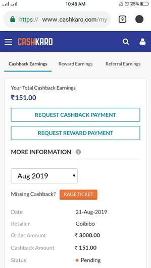 Cashkaro goibibo Cashback