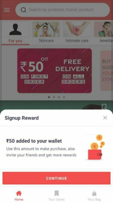 SimSim App Free Shopping Rs.50