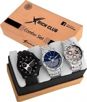 Buy Rich Club Quartz Movement Analogue Display Multicoloured Dial Men's Watch(ARMBLK~27GREY~27SMILY) – Pack of 3 At Rs 439 on Amazon